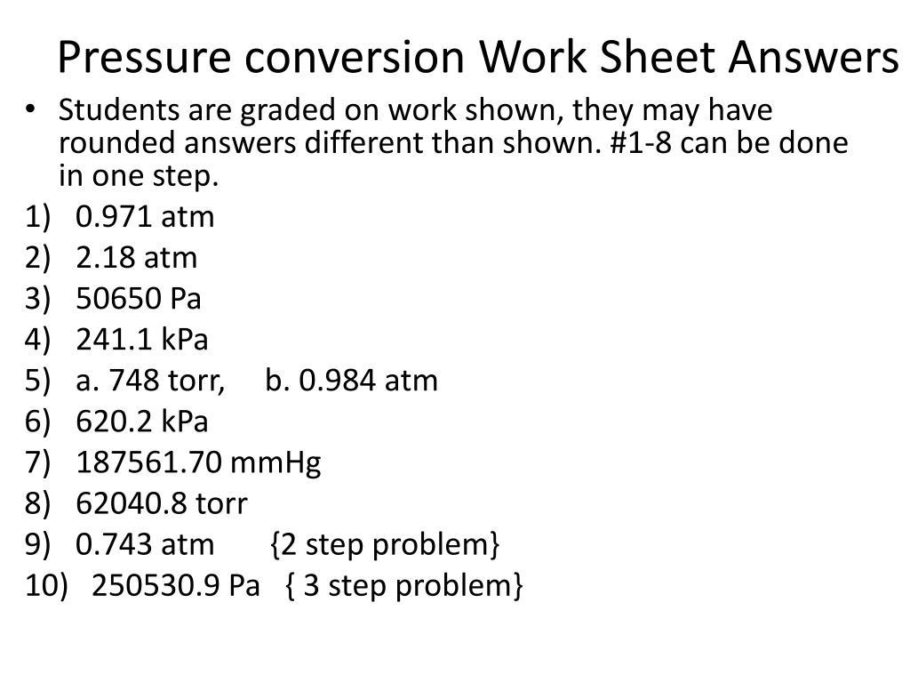 Pressure Conversion Worksheet