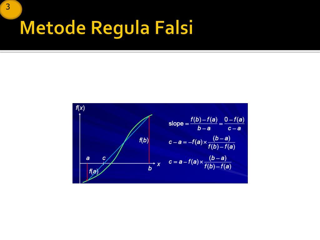 Cek konvergensi nilai f (a) dan f (b) jika tanda f (a) f (b), nilai awal dapat digunakan untuk iterasi selanjutnya. Contoh Latihan Soal: Contoh Soal Metode Numerik Regula Falsi