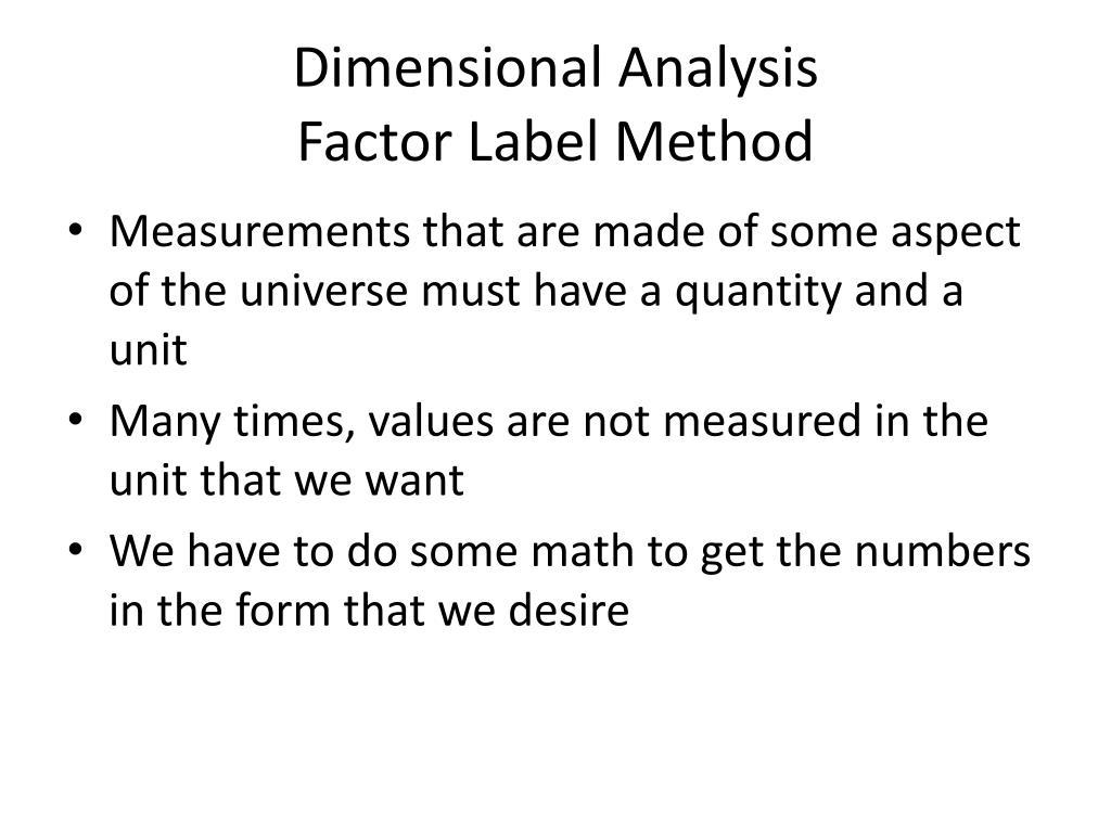 32 Dimensionalysis Factor Label Method