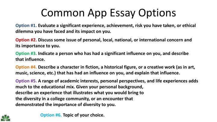 common app essay topic of your choice Writing your common application essay: how to answer prompt #6 thinking about tackling one of the common application essay prompts go for it admissions committees are keeping an eye out for college prospects who aren't afraid to try one of the application's newest essay topics.