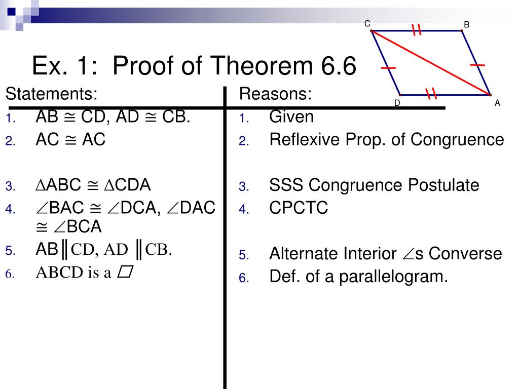 Alternate Interior Angles Theorem Parallelogram