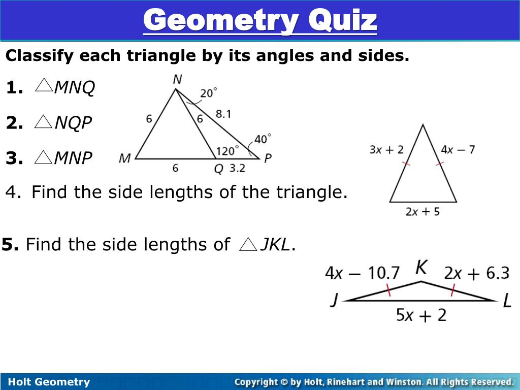 Geometry Classifying Triangles By Angles