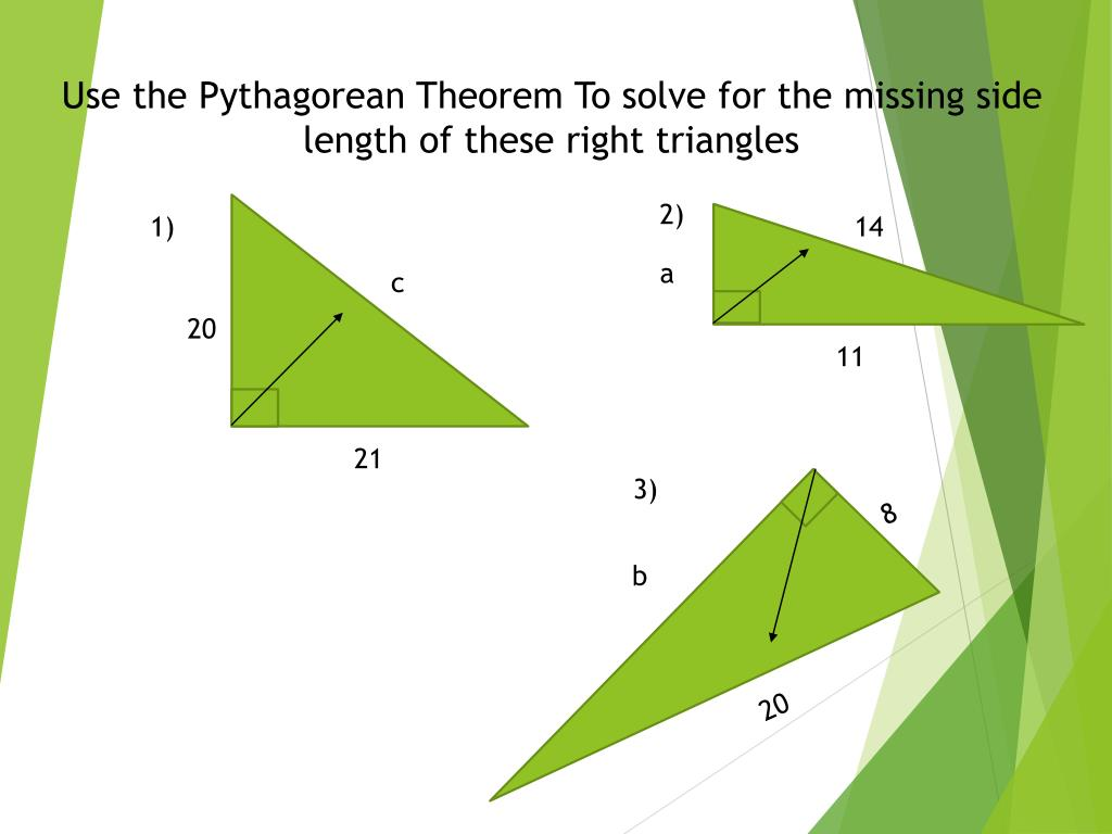 Pythagorean Theorem Worksheet Missing Lengths