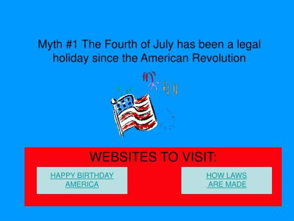PPT - Myth #1 The Fourth of July has been a legal holiday ...