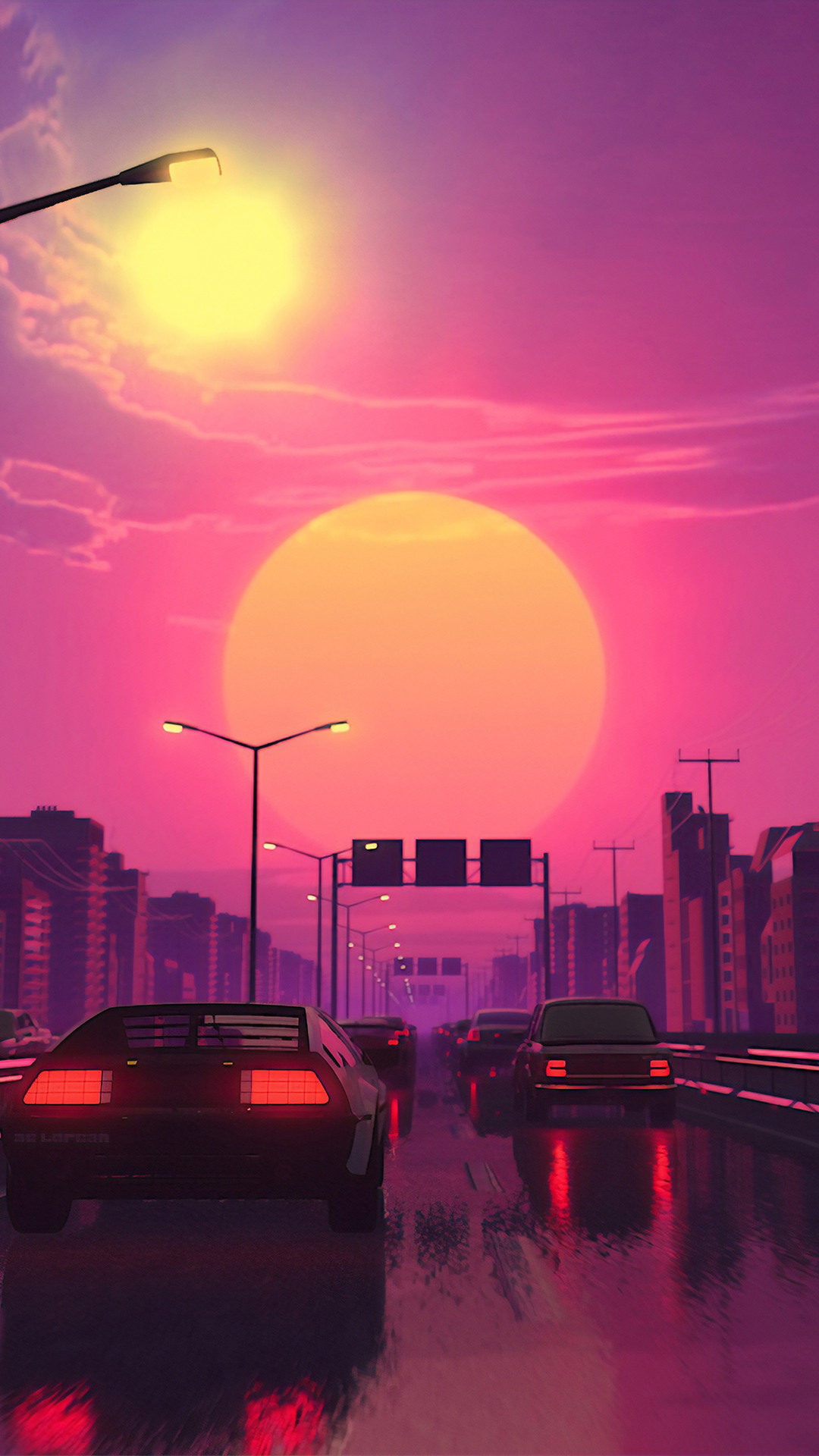 Toyota supra drift live wallpaper. Neon City Car Retrowave Synthwave Digital Art 4k Wallpaper 91