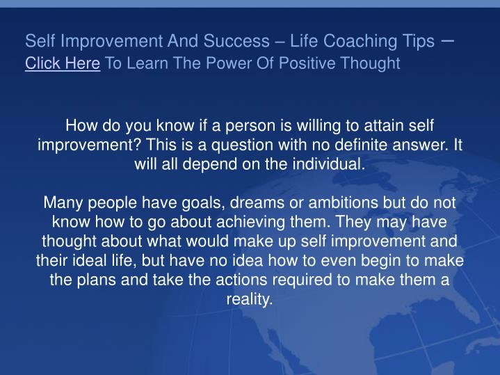 Life Coaching Self Improvement