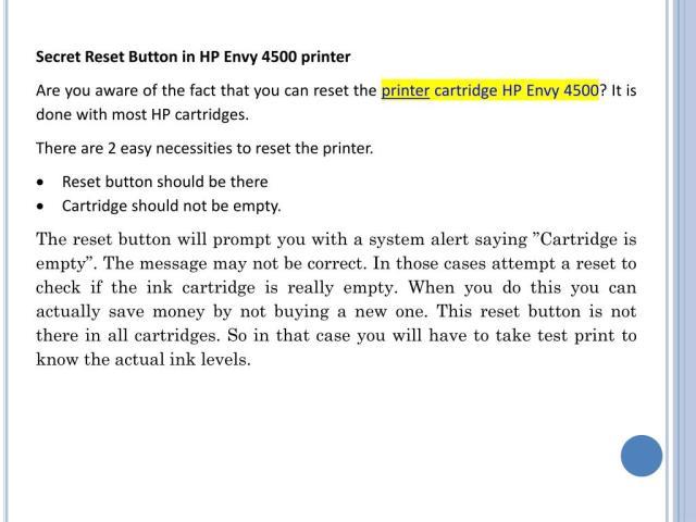 PPT - Secret Reset Button For Printer Cartridge HP Envy 26
