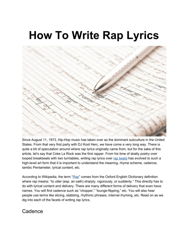 PPT - How To Write Rap Lyrics PowerPoint Presentation, free