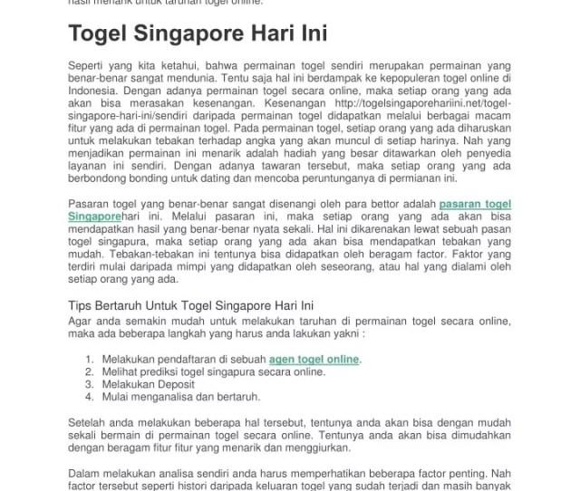 Ppt Togel Singapore Hari Ini Powerpoint Presentation Free