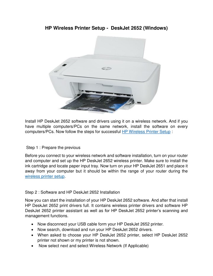 Ppt Easy Steps To Connect Hp Deskjet 2652 Printer To