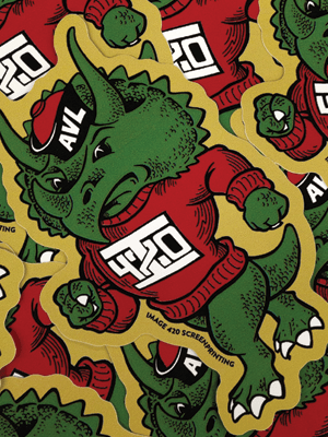 """""""Mascot"""" stickers. Available at Image 420. One free with every online order."""