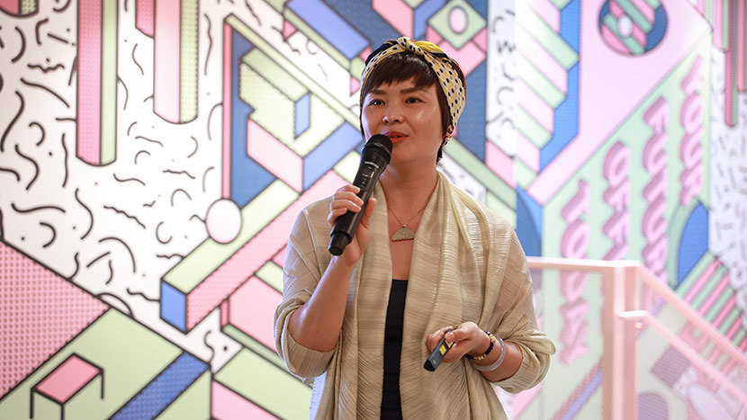 "Chen Lijun, a health instructor, gives a speech about pelvic-floor care at the event, ""Pelvic Floor Awakening,"" held in Shanghai, May 11, 2019. Courtesy of Zhao Jing"