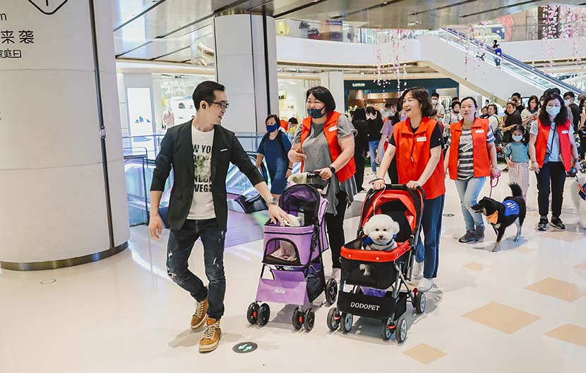 Participants in the Paw for Heal program escort their dogs through the shopping mall of the Bund Finance Center in Shanghai, May 17, 2020. Courtesy of the Bund Finance Center