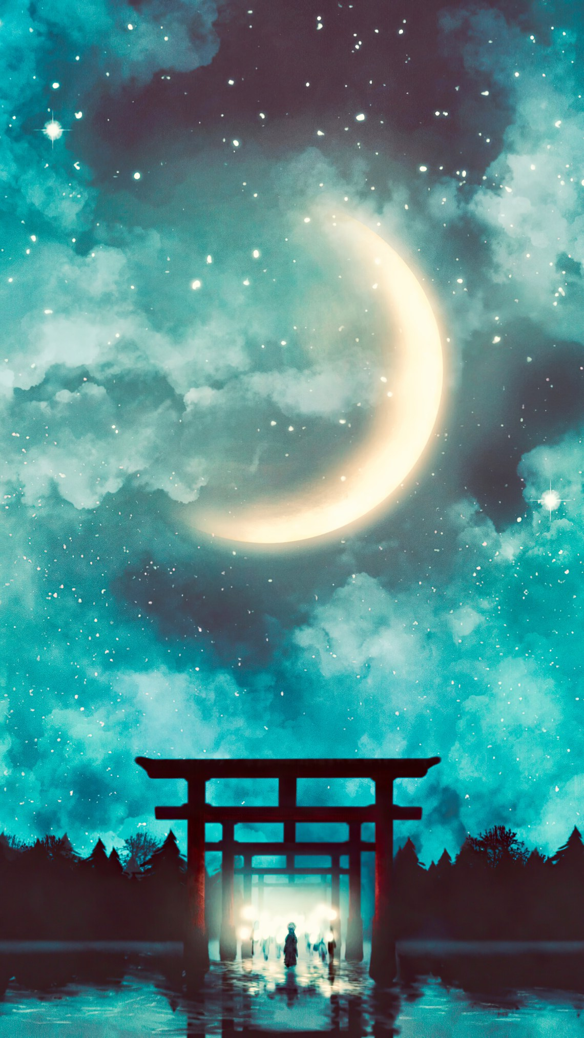 Shrine Gate Night Sky Anime Scenery 4k Wallpaper 6 2588