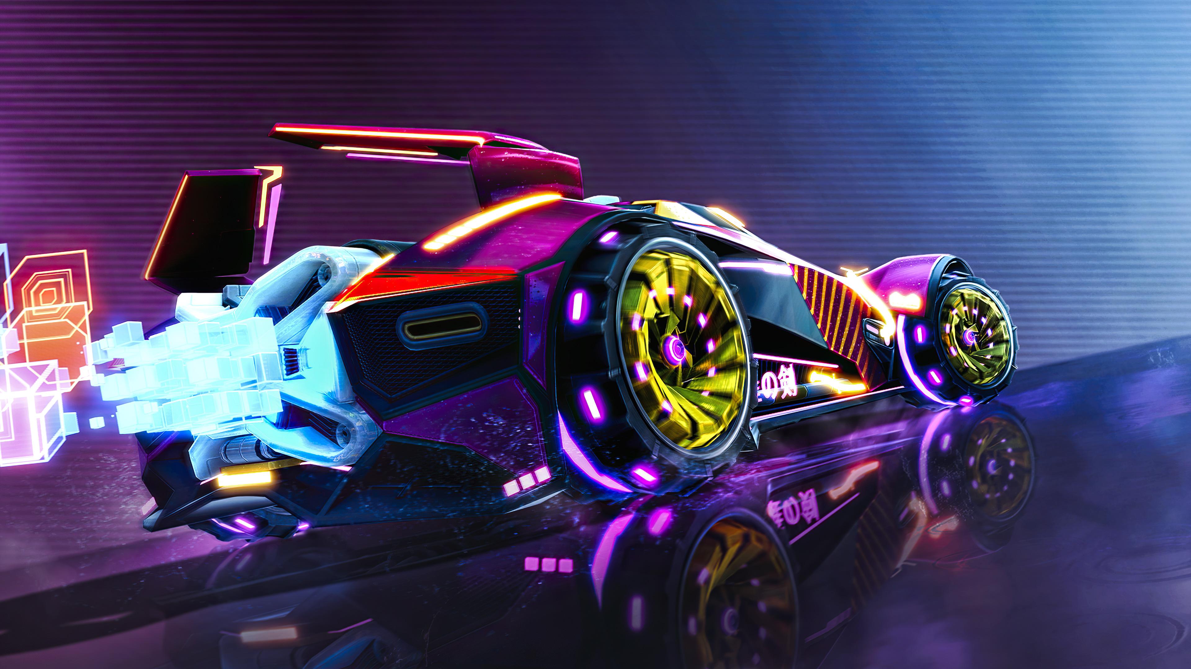 Full screen hd 4k car wallpaper for pc. Neon Car Rocket League Vaporwave Digital Art 4k Wallpaper 6 2184