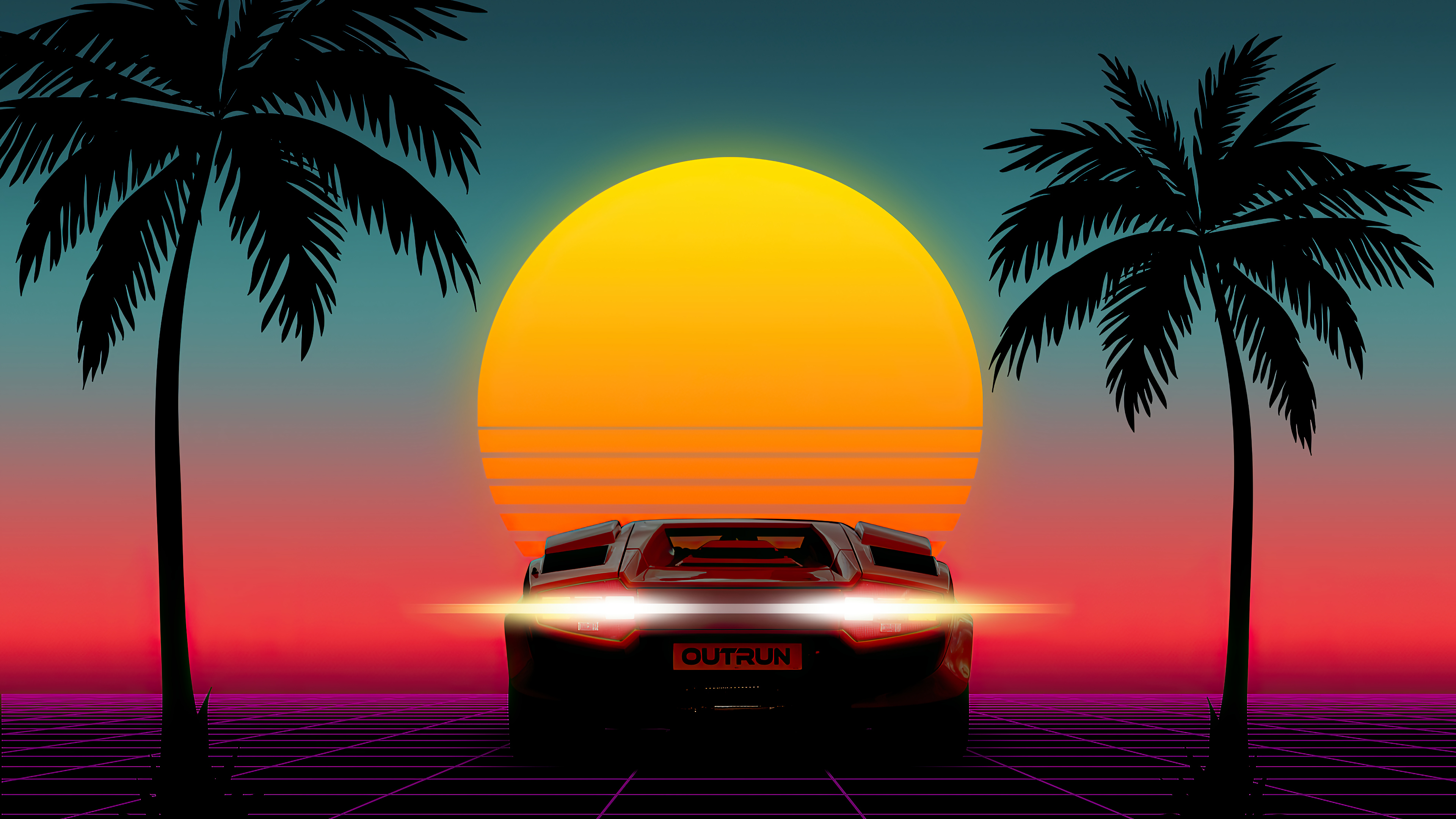 Customize your desktop, mobile phone and tablet with our wide variety of cool and interesting 4k wallpapers in just a few clicks! Sunset Minimalist Sports Car Palm Scenery 4k Wallpaper 6 2191