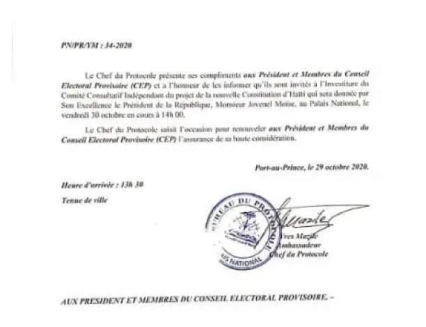 Investiture d'un comité consultatif pour le projet de la nouvelle Constitution, ce 30 octobre 2020 - Constitution, Jovenel Moïse