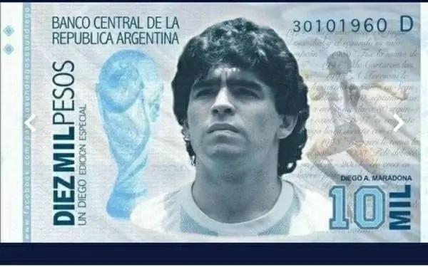 Argentine : L'effigie de Maradona pourrait bientôt être sur les Billets de 10000 Pesos - Diego maradona, la selection argentine, Maradona