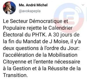 Le secteur démocratique et populaireestsur son pied deguerrefaceaupouvoirPHTK. - André Michel, Jean-Charles Moïse, opposition, secteur démocratique et populaire