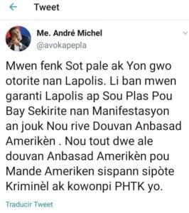 Mobilisation totalement pacifique;desmilitantsrejettentcetteapproched'André Michel. - André Michel, Jovenel Moïse, Kidnapping