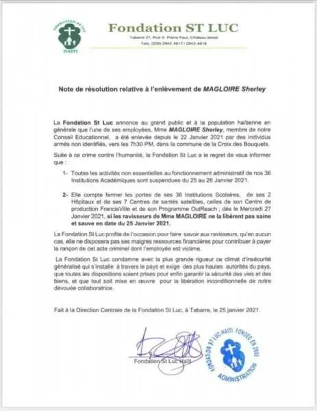 Suite à l'enlèvement de Mme Sherley Magloire, la Fondation St Luc Haiti ferme ses portes -