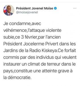LeprésidentJovenelMoïsecondamnel'attaquecontre l'ancien présidentJocelermePrivert. - Jocelerme Privert, Jovenel Moïse