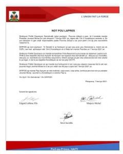 La direction politique de l'opposition démocratique (DIRPOD), rappelle au commandant de la PNH, les règlements... - oposition