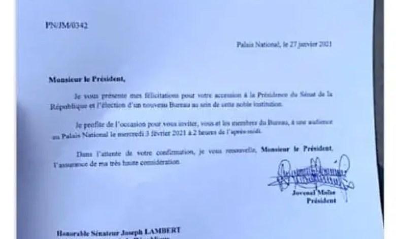Joseph Lambert invité au Palais national ce 3 février - Joseph Lambert, Jovenel Moïse