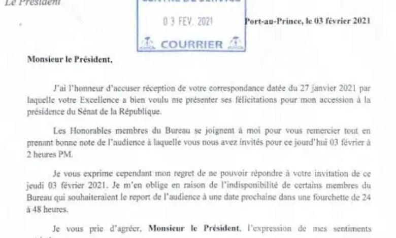 Le Sénateur Lambert demande au président Moïse de reporter l'audience à laquelle le bureau était invité - Joseph Lambert, Patrice Dumont