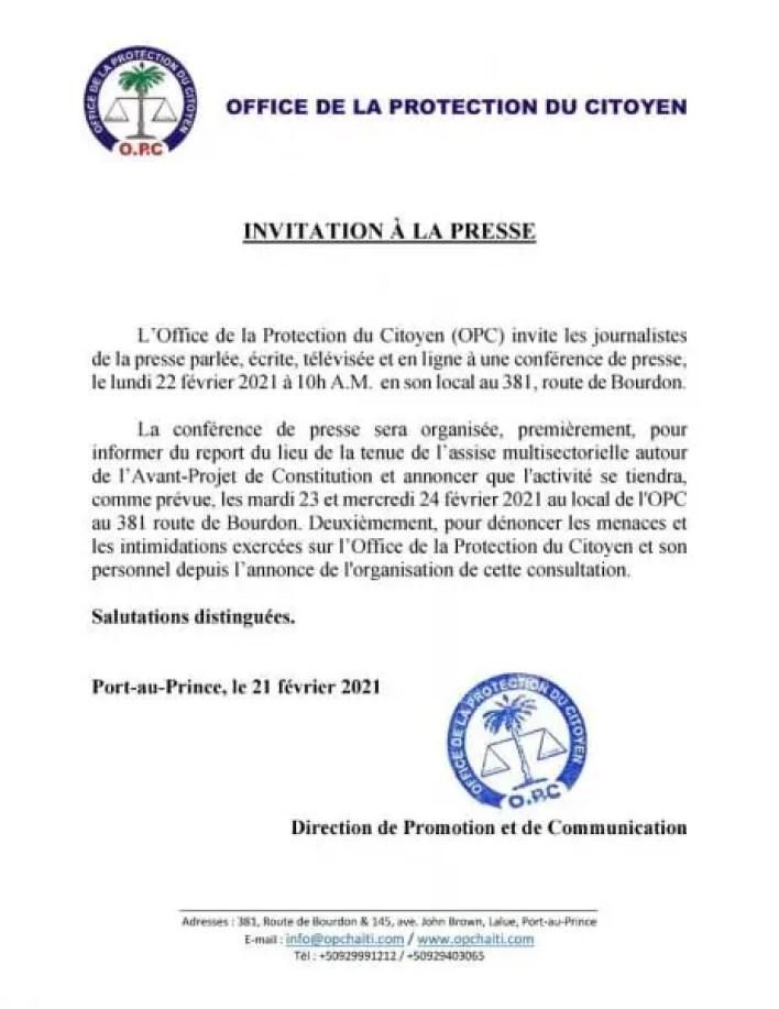 Menacé, l'OPC reporte le lieu de l'assise sur le projet de la nouvelle Constitution - Constitution, Opc