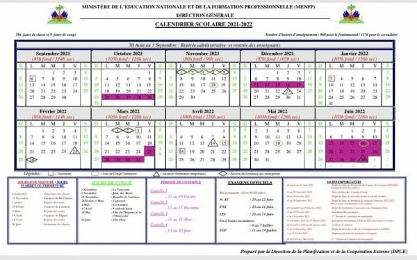 Le MENFP publie le calendrier scolaire de l'année académique 2021-2022 -