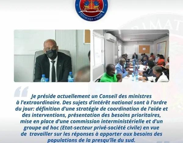 Conseil des ministres à l'extraordinaire, le gouvernement à pied d'œuvre pour apporter des réponses aux victimes du séisme -