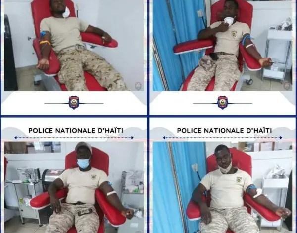 Les policiers du CIMO soutiennent les victimes du séisme du 14 août avec des pochettes de sang - Séisme