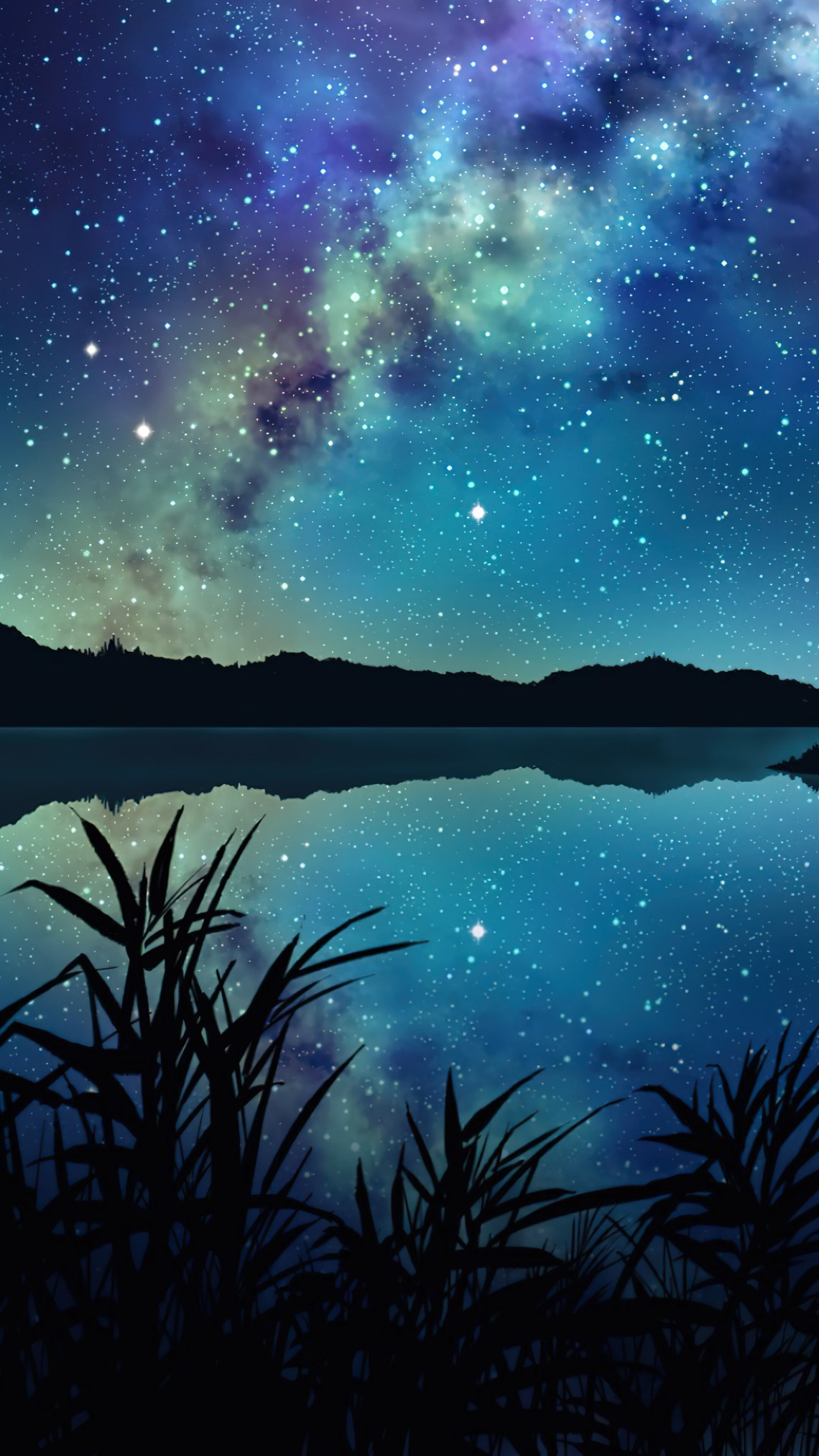 Starry Stars Night Sky Milky Way Anime Scenery Art Hd 4k Wallpaper 8 2902
