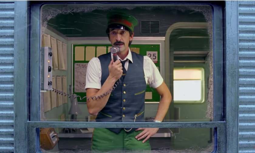 Adrien Brody plays the conductor in Wes Anderson's Christmas commercial for H&M. Image Amplified www.imageamplified.com