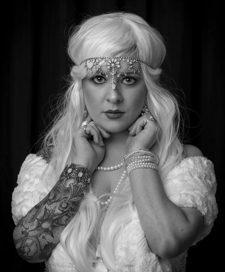 female model portfolio portrait session photograph in monochrome