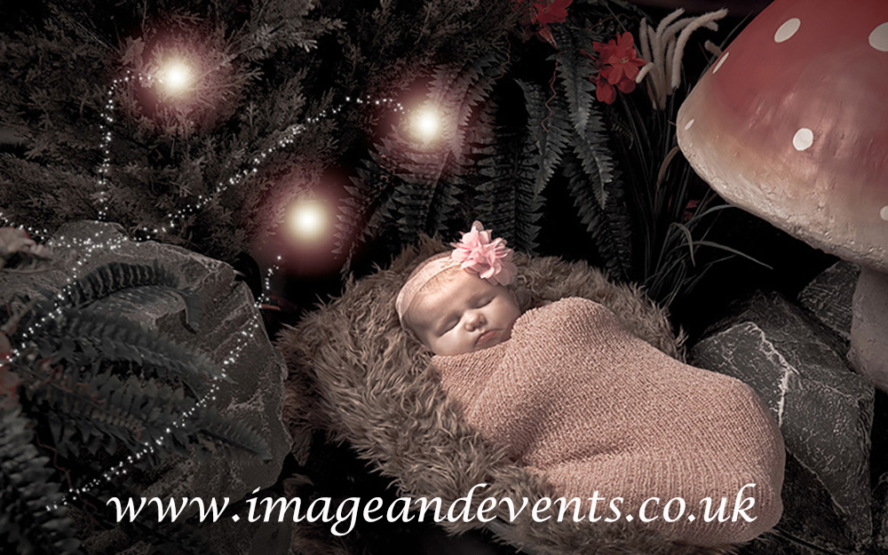 Themed Newborn photograph example with fairy and elf set