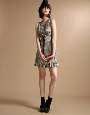 Leopard Satin Frill Shift Dress