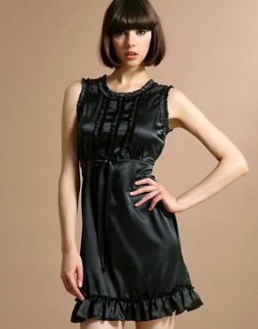 Satin Frill Dress Black