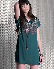 Mina Feather Print Beaded Folk Dress