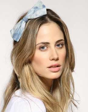 ASOS Bleach Splashed Denim Bow Hairband