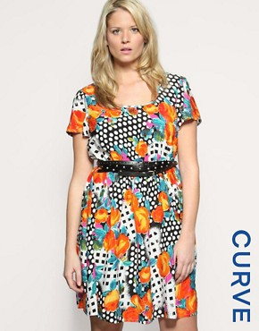 ASOS CURVE Flower And Spot Dress