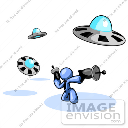 Clip Art Graphic of a Blue Guy Character In A Business Tie