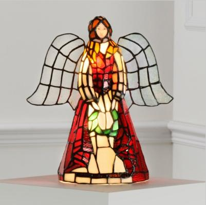 Tiffany Style Stained Glass Accent Lamp Angel EBay