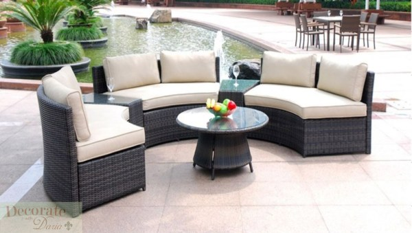 curved outdoor sectional patio furniture 6 SEAT CURVED OUTDOOR PATIO FURNITURE SET PE Wicker Rattan