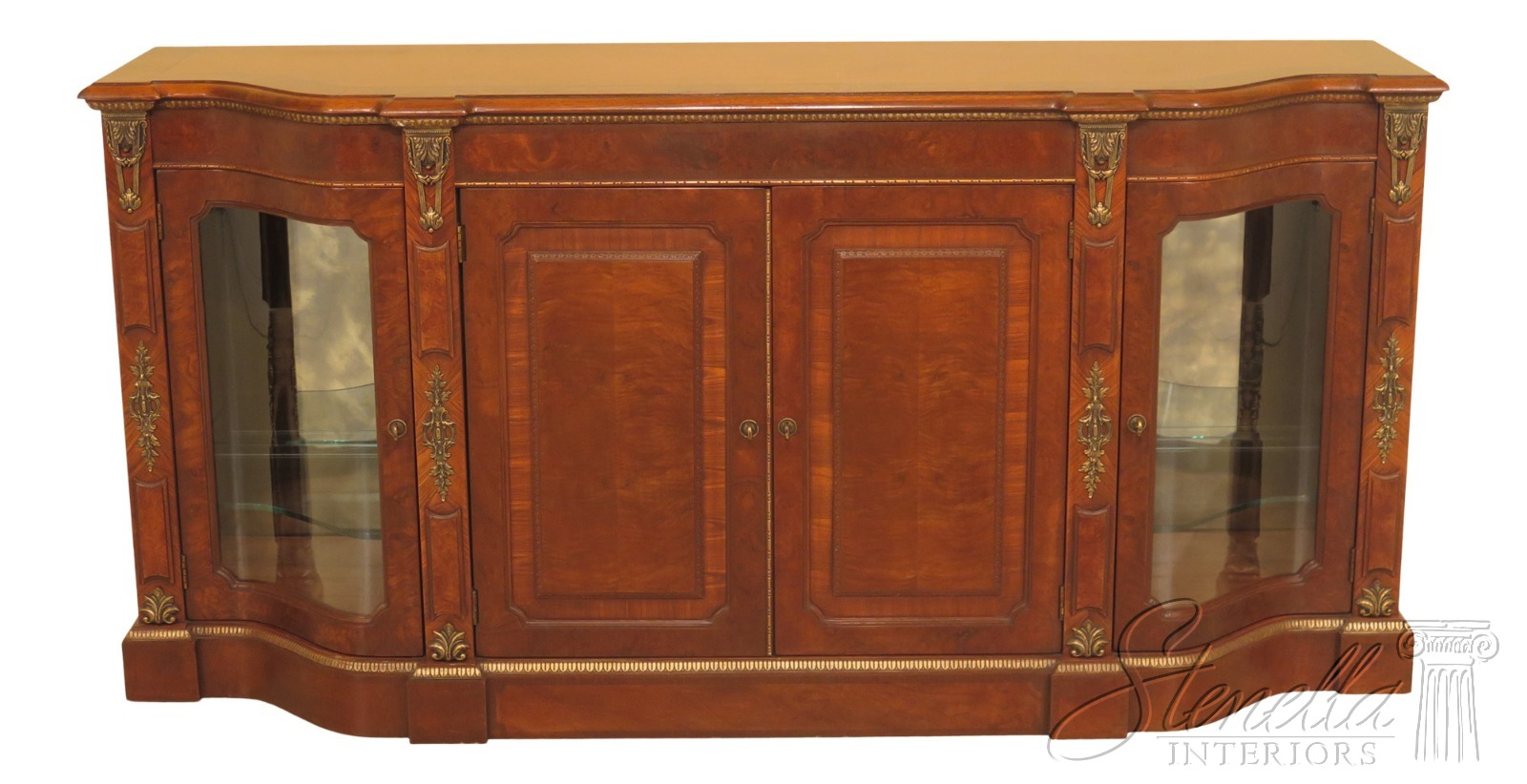 Details About 47346ec Henredon French Style Curio Side Walnut Sideboard