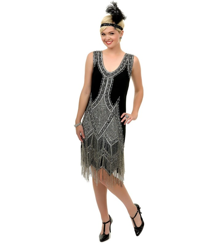 SALE! 1920's Style GREAT GATSBY Black Silver BEADED ...