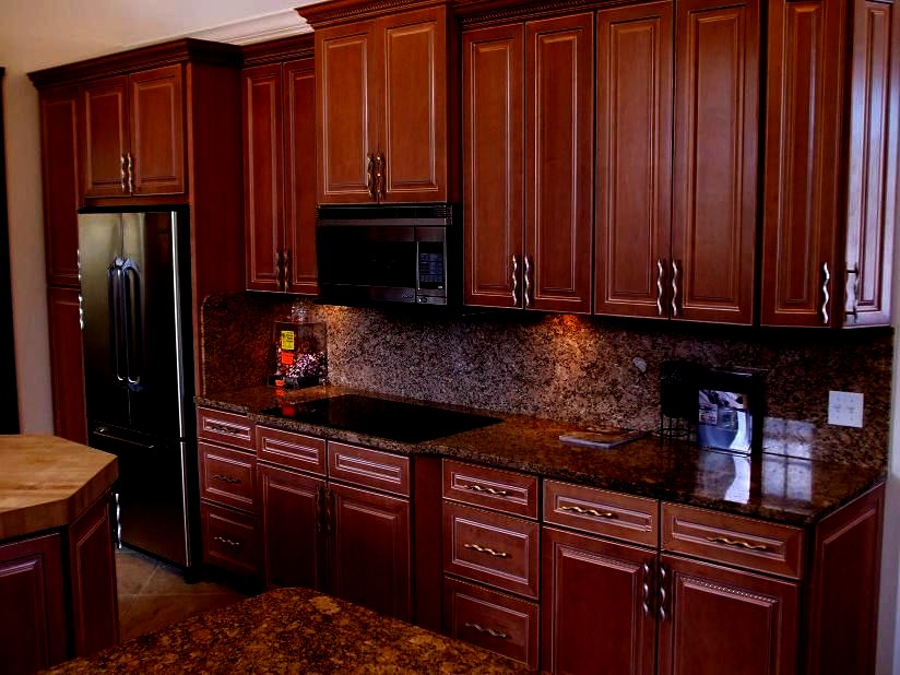 GRANGER54 : Executive Maple Kitchen Cabinets Glazed Dark ... on Dark Maple Cabinets  id=29871