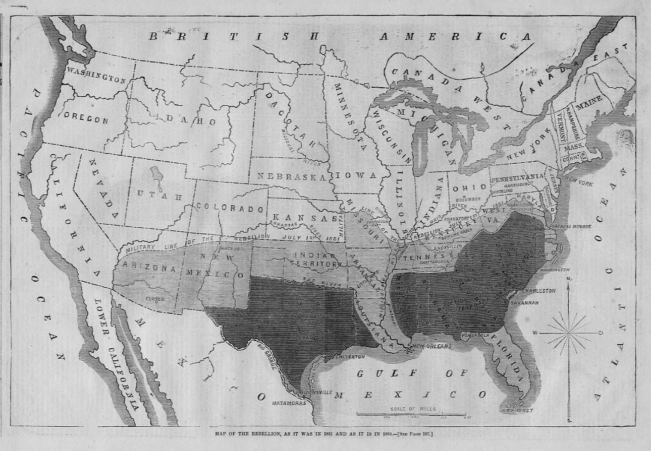 Civil War United States Map Of The Rebellion