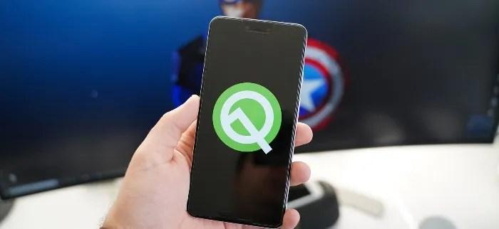 Android Q beta móvel do google pixel